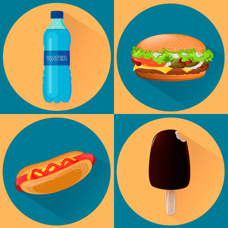 Food icons. Set of four illustrations