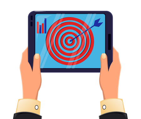 Tablet in mans hands. Objective reached. Icon modern technologies. Vector illustration
