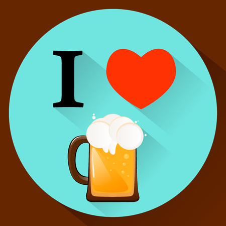 I love beer. Cold fresh drink. Flat style. Illustration