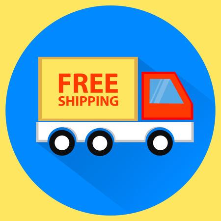 Free shipping truck. Vector flat illustration