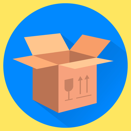 this side up: Cardboard box. Fragile, this side up. Isolated flat vector illustration