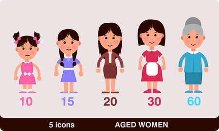 vector illustration of the different ages of women