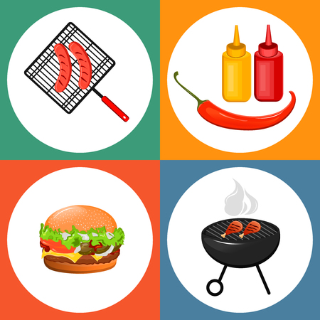 sauces: Summer barbecue party. Set of flat icons with grilled sausages, cheeseburger and sauces. Vector illustration Illustration
