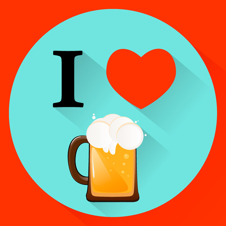 vector illustration I love beer on Fathers Day Illustration