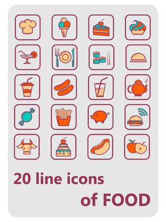 vectorillustratie 20 lijn iconen eten en drinken zwart-wit