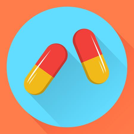 Two capsules. Flat design.Vector stock illustration.