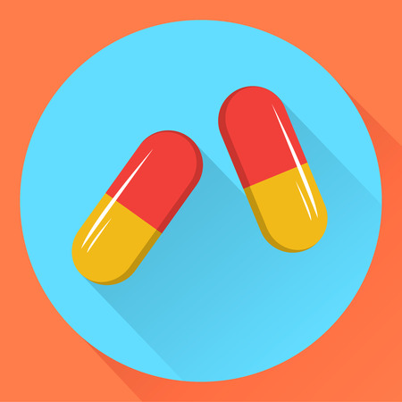 Two capsules. Flat design.Vector stock illustration.