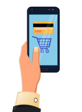 customer service phone: Vector illustration of hands holding tablet. Mobile payments from credit card on the screen. Flat style