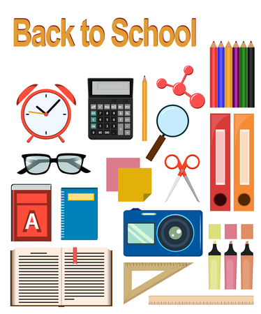 Back to study. Objects for school. Set of round flat icons. Vector Illustrations. Stock Vector - 65327608