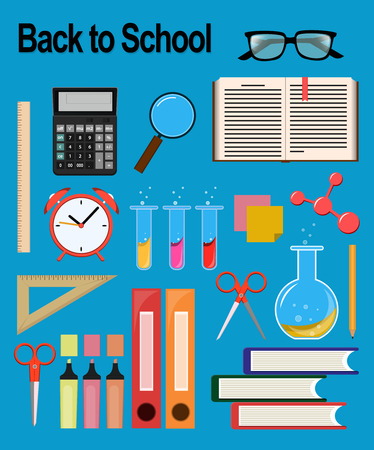 pen and marker: Objects for school. Back to study. Set of round flat icons. Vector Illustrations. Light blue background Illustration