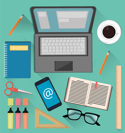 Stuff for studying and business. Useful things for students, office workers and businessmen. Vector illustration on light blue background Stock Vector - 65327615