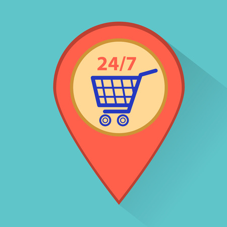 Map marker with shopping cart icon.
