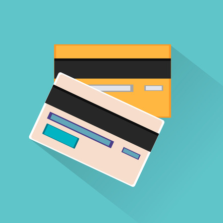 electronic commerce: Credit cards vector icon. Illustration