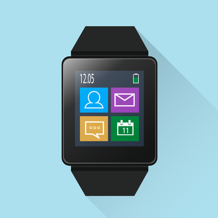 aplication: Smart watch with icons on screen, modern and stylish gadget Illustration