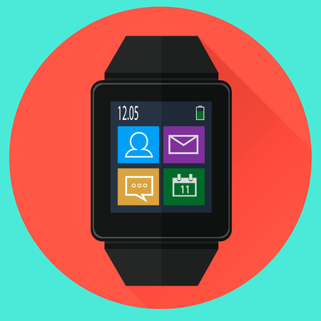 aplication: Smart watch with icons on screen. Flat style Illustration