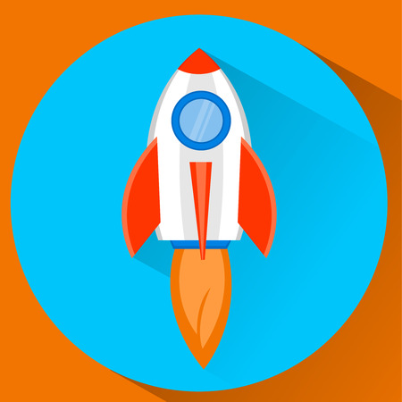 Space rocket ship flying in the sky. Startup concept icon in flat style. Illustration