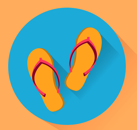 Beach slippers. Flat vector illustration. Yellow and blue colores