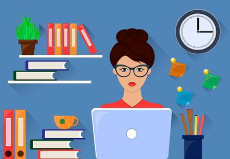 lady clock: Office woman working on workstation desk. Vector illustration