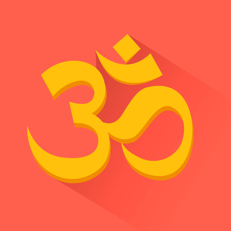 heart chakra red: Om sign. Induism symbol