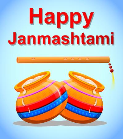 Happy Krishna Janmashtami. Greeting post card. Easy to edit vector illustration