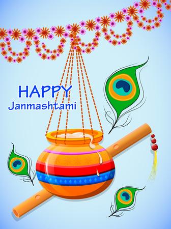 Happy Krishna Janmashtami. Greeting post card. Light background. Easy to edit vector illustration
