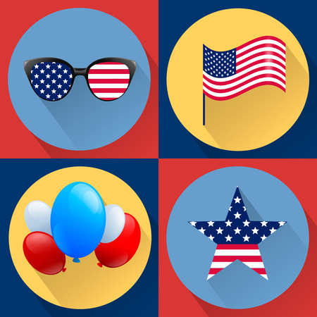 stock image: Set of patriotic vectors dedicated to the Fourth of july. Independence day USA. Flag, glasses, ballons and star. Stock image.