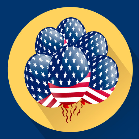 specially: USA Patriotic balloons colored specially for the Fourth of July. Country National Colors. Independence day. Flat vector