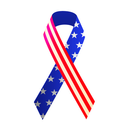 Patriotic red, white, and blue ribbon for 4th of July or Memorial Day. Vector illustration 일러스트