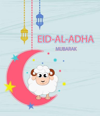 sacrificio: Festival de sacrificio Eid'ul Adha. Las letras se traduce como Eid Al-Adha (fiesta del sacrificio). Tarjeta de felicitación. Luna, estrellas y linternas.