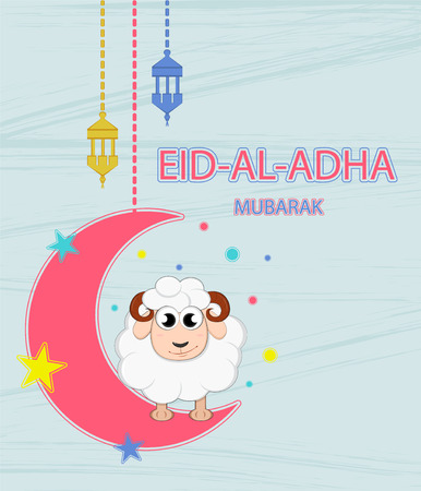 Festival of sacrifice Eid-Ul-Adha.  Lettering translates as Eid Al-Adha (feast of sacrifice). Greeting card. Moon, stars and lanterns.