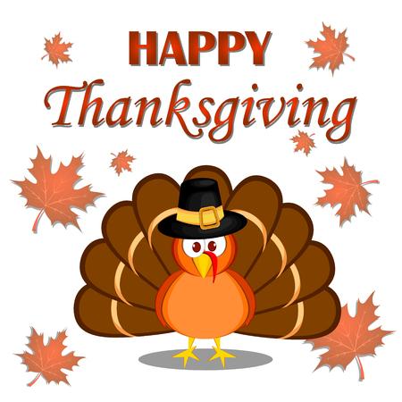 Beautiful cartoon turkey bird. Happy Thanksgiving celebration. Orange background. Usable as poster, banner, or postcar