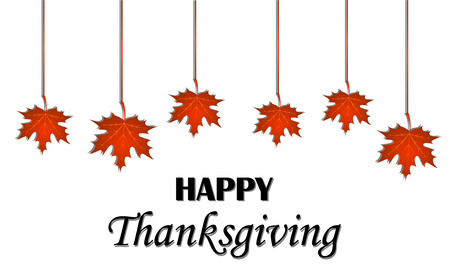 caes: Feliz día de acción de gracias. Colgando las hojas de arce sobre fondo blanco. tarjeta de felicitación del vector
