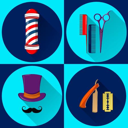 Barbers equipment and symbols. Barbershop. Set of vector flat icons.