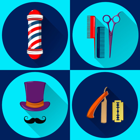 Barbers equipment and symbols. Barbershop. Set of vector flat icons.