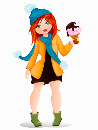 beautiful girl in a short dress and coat, knitted cap, scarf, autumn, winter, sweet ice cream in hand, vector illustration