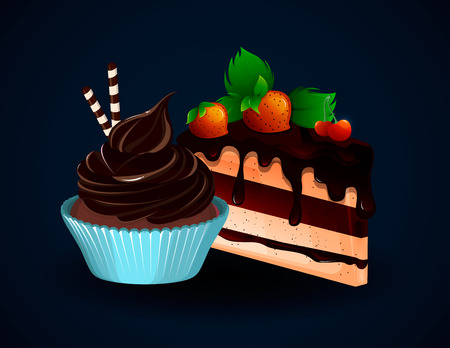 Piece of tasty cake with strawberries and cupcake. Sweet food. Vector illustration Illustration