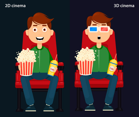 man Sitting in the Cinema and Watching a Movie, 2D and 3D cinema. Colorful Vector Illustration Illustration