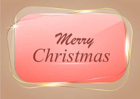Glass banner for Merry Christmas. Shiny vector illustration