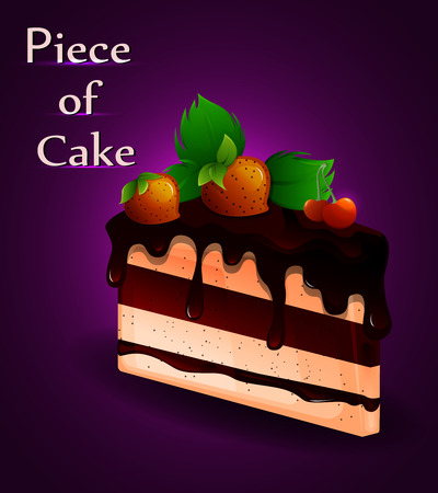 piece of cake: Piece of tasty cake with strawberries. Sweet food. Vector illustration Vectores