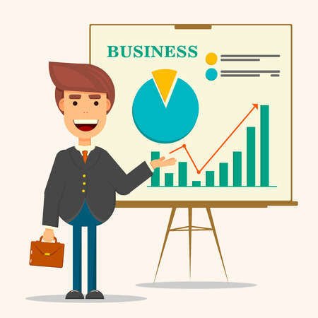 personage: Young business man in business suit and tie making presentation in front of whiteboard. Smiling man personage with suitcase. Illustration