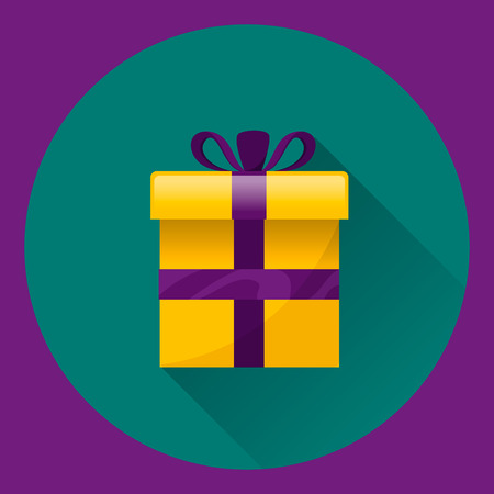 donative: Gift box with present inside. Flat illustration on green and violet background