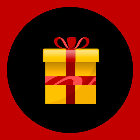 Gift box with present inside. Flat illustration on red and black background Illustration
