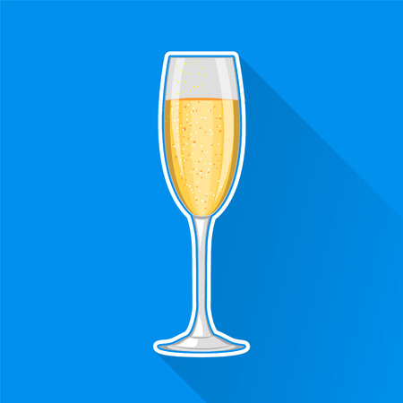 champaign: Champagne glass. Happy New Year and Merry Christmas celebration. Concept illustration. Illustration