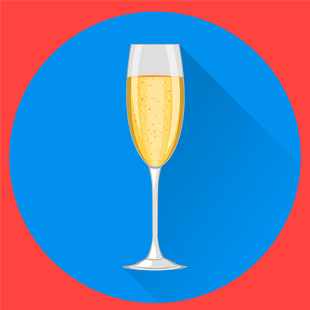 Champagne glass on blue round background. Happy New Year and Merry Christmas celebration. Illustration