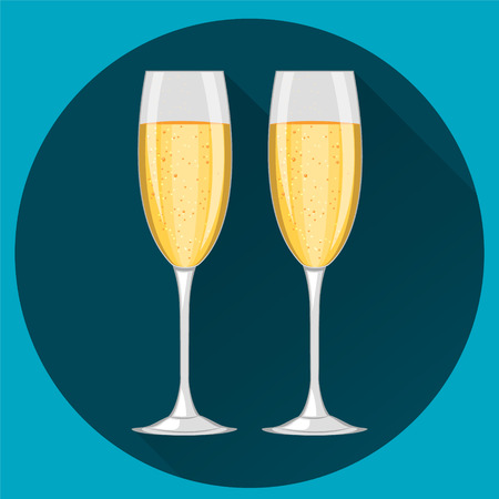 Two champagne glasses on dark blue round background. Concept illustration. Happy New Year and Merry Christmas celebration.