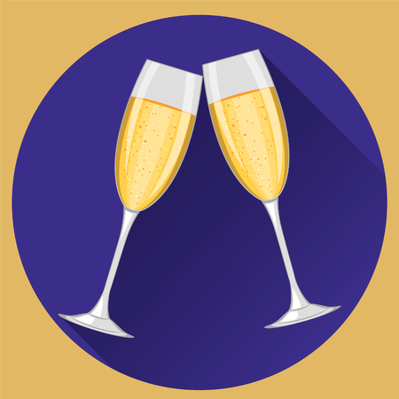 Two champagne glasses on violet  round background. Happy New Year and Merry Christmas celebration.  Modern flat design. Ilustrace