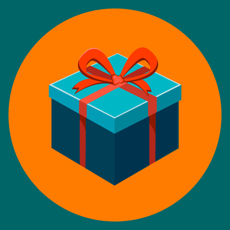 Gift box with ribbon and bow on orange background. Modern flat illustration