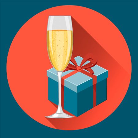 Glass of champagne and gift box for celebration of New Year and Merry Christmas