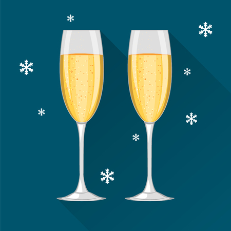Two champagne glasses on dark blue background and with snowflakes. Concept  illustration. Happy New Year and Merry Christmas celebration. Illustration