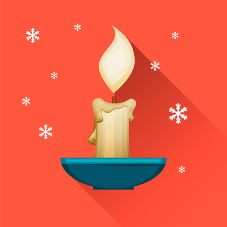 Merry Christmas and Happy New Year. Burning cartoon candle in candlestick